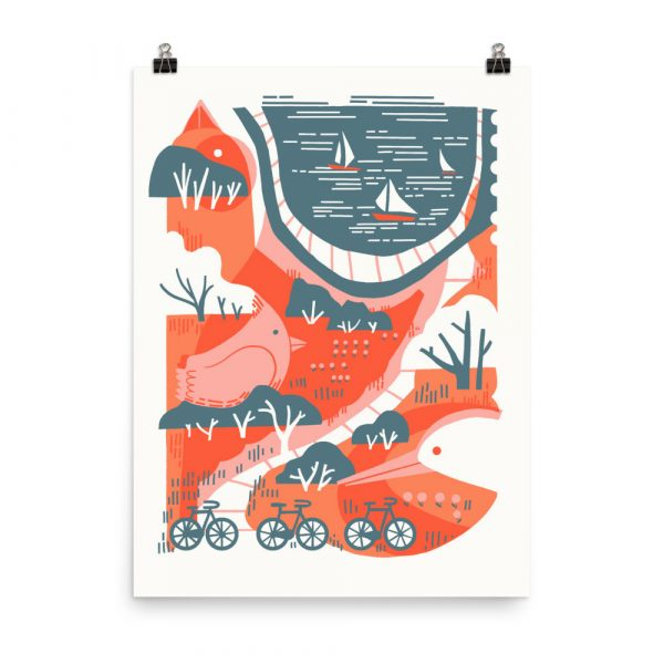 3 Boats, 3 Birds, 3 Bikes - poster by Julie Van Grol