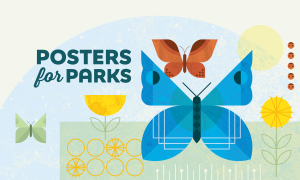 Posters for Parks 2021 butterfly banner for desktop computers